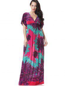 فستان طباعة الأزهار سموكيد لوحة كهنوتي ماكسي - أرجواني 2xl