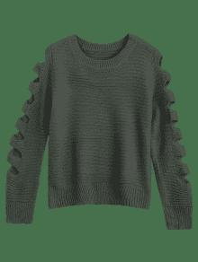 Crew Neck Cutout Sleeve Sweater - Army Green