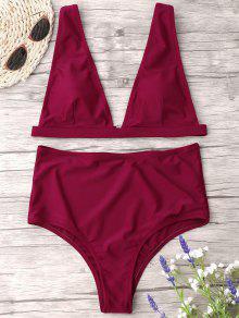 High Waist Thong Bikini Set - Wine Red M