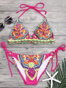 Halter Retro Paisley Print String Bikini - L