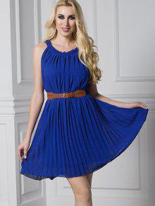 فستان مطوي مربوط كشكش مصغر - ازرق غامق Xl
