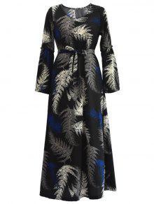 كم طويل الاستوائية مربوط فستان ماكسي - أسود Xl