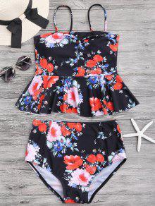 Floral Peplum High Waisted Tankini Set - Black M