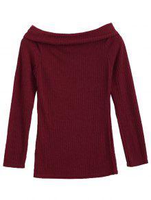 Overlay Off Shoulder Knitwear - Wine Red M