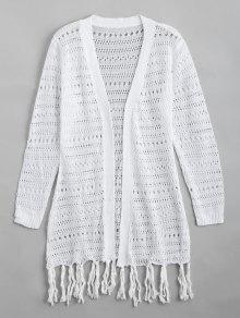 Open Front Sheer Tassels Cardigan - White Xl