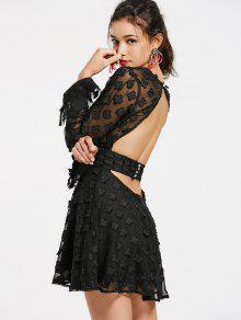 Buttoned Cut Out Floral Applique Mini Dress - Black M