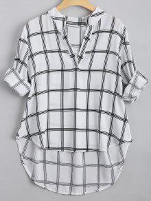 V Neck Checked High Low Blouse - Checked L