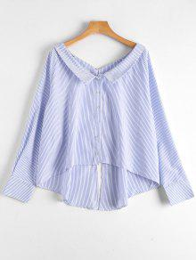 Back Slit Striped High Low Blouse - Stripe L