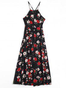 Floral Print Criss Cross Cami Dress - Black Xl