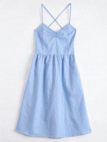 Open Back Criss Cross Ruched Cami Dress - Light Blue S