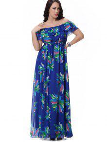 الأزهار الطبقات قبالة الكتف فستان ماكسي - الأزهار Xl