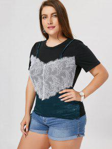 Lace Panel Plus Size T-shirt - Black 5xl