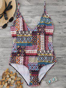 القبيلة طباعة كامي قطعة واحدة ملابس السباحة - S