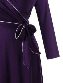 0bb33a06c5d7 34% OFF] 2019 Long Sleeve Plus Size Formal Wrap Dress In CONCORD | ZAFUL