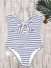 Striped Knot Cut Out One Piece Swimsuit - Grey And White S