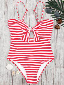Striped Knot Cut Out One Piece Swimsuit - Red With White L