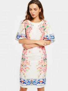 Flare Sleeve Back Slit Floral Print Dress - Floral L