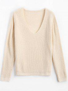 Loose V Neck Chunky Sweater - Off-white
