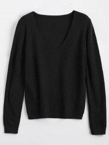 Buy Loose V Neck Chunky Sweater - BLACK ONE SIZE