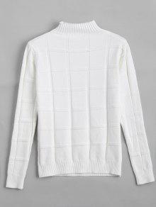 Square Mock Neck Sweater - White