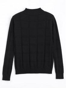 Square Mock Neck Sweater - Black