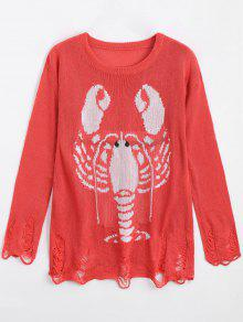 Loose Lobster Graphic Ripped Sweater - Red S