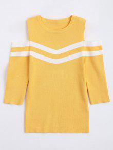 Stripes Panel Cold Shoulder Sweater - Yellow