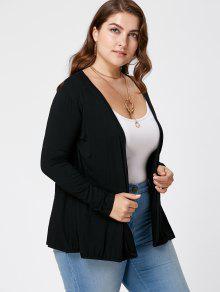 Plus Size Lace Trim Sheer Cardigan BLACK: Plus Size Sweaters ...