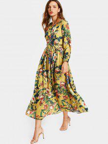 Round Collar Floral Print Long Sleeve Dress - Floral Xl
