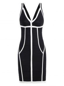 فستان الضمادة ضيق الرقبة V - أسود أبيض M
