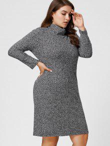 Plus Size Ribbed Sheath Turtleneck Sweater Dress