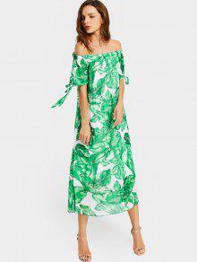 فستان بلا اكتاف طباعة الورقة - الأبيض والأخضر M