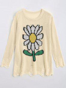 Loose Sunflower Graphic Ripped Sweater - Off-white S