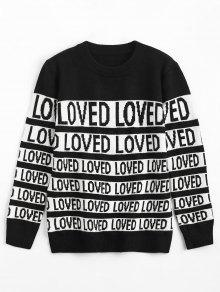 Buy Letter Contrasting Crew Neck Sweater - BLACK ONE SIZE