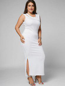 فستان انقسام الحجم الكبير قطع ضيق ماكسي - أبيض 3xl