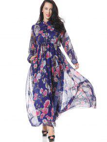 نصف كم طويل الأكمام الأزهار فستان ماكسي - الأزهار L