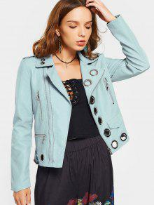 Hollow Out Ring Embellished Faux Leather Jacket - Light Blue M