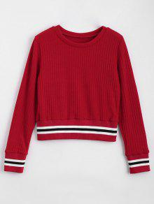 Fitting Stripes Panel Sweater - Red S