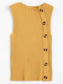 Side Buttoned Vest Ribbed Sweater - Yellow