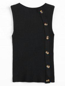 Buy Side Buttoned Vest Ribbed Sweater - BLACK ONE SIZE