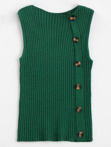 Buy Side Buttoned Vest Ribbed Sweater - GREEN ONE SIZE