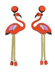 أجنحة الطيور سلسلة الأقراط - أحمر