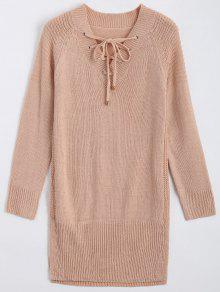 Long V Neck Lace Up Sweater - Nude Pink