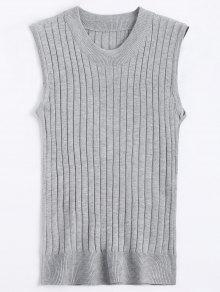 Crew Neck Vest Sweater - Gray
