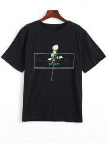 Camiseta De Cuello Redondo Con Estampado Floral - Negro M