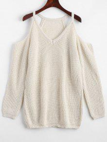 Cold Shoulder Plain Longline Sweater - Off-white
