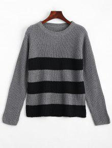Buy Crew Neck Contrast Pullover Sweater - BLACK AND GREY ONE SIZE