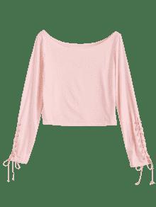 El La Rosado Barco Para Arriba Ata Camiseta Del M Cuello awrxqS4Ya