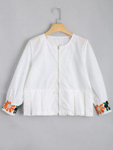Zip Up Floral Patched Blouse - White Xl