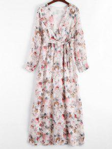 Plunging Neck Floral Print Belted Dress - Floral M